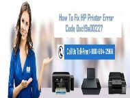 How To Fix HP Printer Error Code 0xc19a0022? 1-800-694-2968 For Help