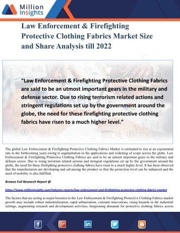 Law Enforcement & Firefighting Protective Clothing Fabrics Market Size and Share Analysis till 2022