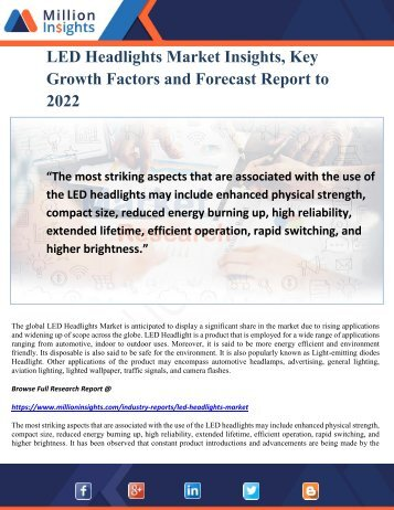 LED Headlights Market Insights, Key Growth Factors and Forecast Report to 2022