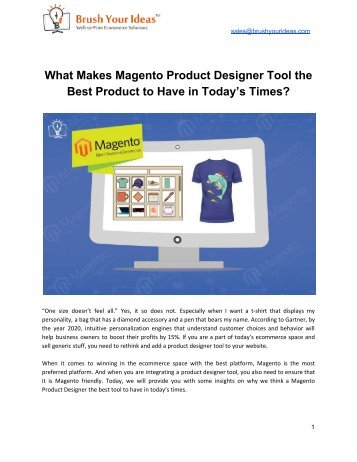 What Makes Magento Product Designer Tool the Best Product to Have in Today's Times?
