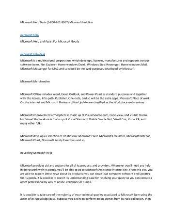 Microsoft Help Desk (1-800-862-3967) Microsoft Helpline6