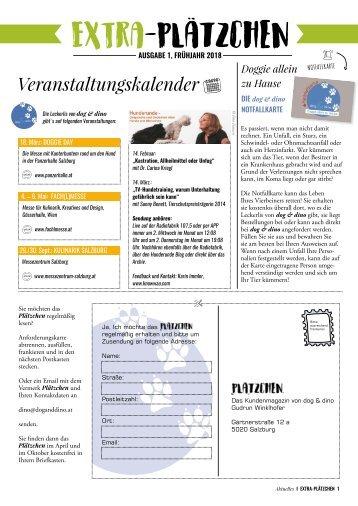 Plätzchen - das Kundenmagazin von dog & dino, Ausgabe 1, 2018