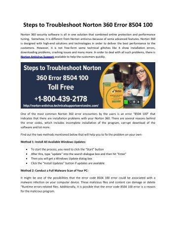 Steps to Troubleshoot Norton 360 Error 8504 100
