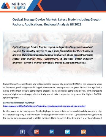 Optical Storage Device Market Latest Study Including Growth Factors, Applications, Regional Analysis till 2022