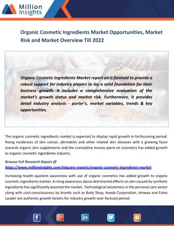 Organic Cosmetic Ingredients Market Opportunities, Market Risk and Market Overview Till 2022