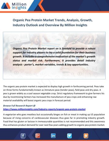 Organic Pea Protein Market Trends, Analysis, Growth, Industry Outlook and Overview By Million Insights