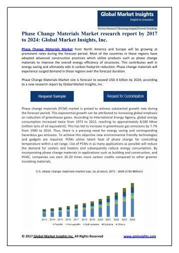 Phase Change Materials Market growth outlook with industry review and forecasts 2017-2024