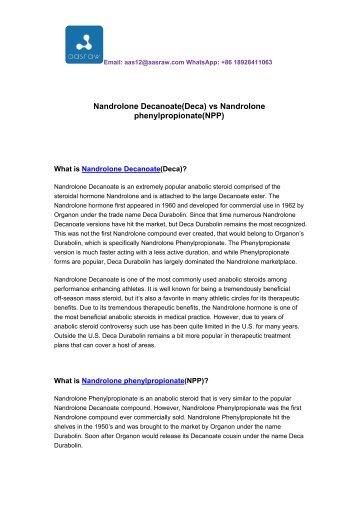 Nandrolone Decanoate (Deca) vs Nandrolone phenylpropionate (NPP)