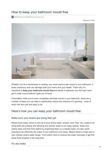 How to keep your bathroom mould free