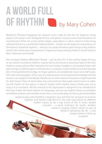 A world full of rhythm by Mary Cohen
