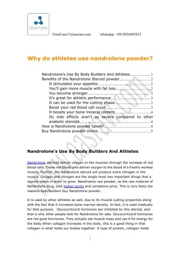 Why do athletes use nandrolone powder?