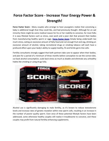 Force Factor Score - Boost Your Stamina & Confidence Level!