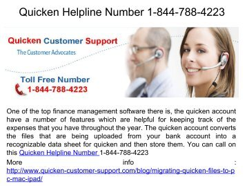 Quicken Helpline Number 1-844-788-4223