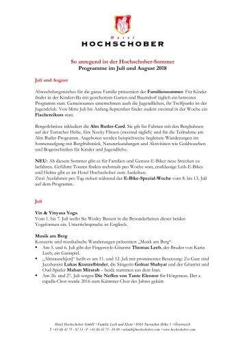Hotel Hochschober Programm Juli und August 2018