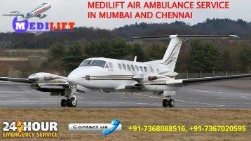 Medilift air ambulance service in Mumbai and Chennai