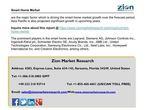 Global  Smart Home Market, 2016-2022