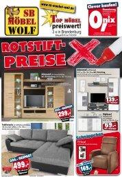 Rotstift-Preise: Top-Möbel preiswert - SB Möbel Wolf - Oranienburg, Bernau, Neuruppin