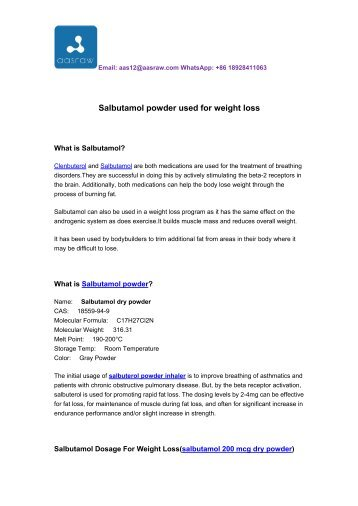 Salbutamol powder used for weight loss