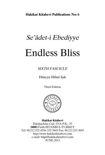 Seadet-i Ebediyye - Endless Bliss Sixth Fascicle