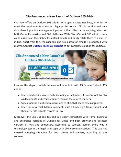 Clio Announced a New Launch of Outlook 365 Add-In