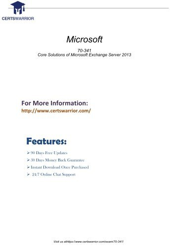 Microsoft 70-341 Latest Questions & Answers To pass Your Exam 2018