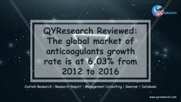 QYResearch Reviewed: The global market of anticoagulants growth rate is at 6.03% from 2012 to 2016
