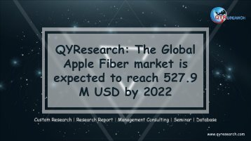 QYResearch: The Global Apple Fiber market is expected to reach 527.9 M USD by 2022