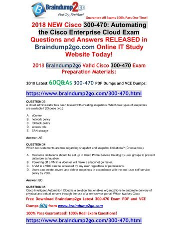 [2018-March-Version]New 300-470 VCE and 300-470 PDF Dumps Free Share(33-43)