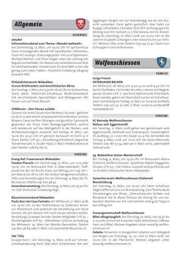 Gemeindespalten KW10 / 08.03.18