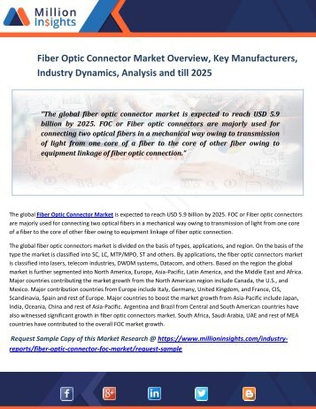 Fiber Optic Connector Market Overview, Key Manufacturers, Industry Dynamics, Analysis And Till 2025