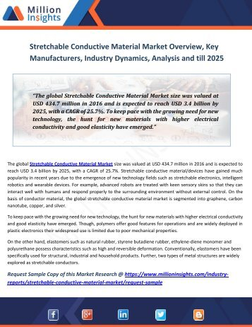 Stretchable Conductive Material Market Overview, Key Manufacturers, Industry Dynamics, Analysis And Till 2025