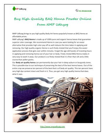 Buy High Quality BAQ Henna Powder Online From NMP Udhyog