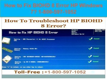 Call +1-800-597-1052 Fix BIOHD 8 Error HP Windows 7 | For HP help