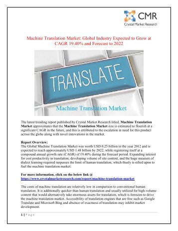 Machine Translation Market Projected to Amplify During 2012 - 2022