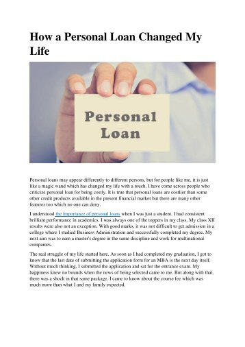 How a Personal Loan Changed My Life