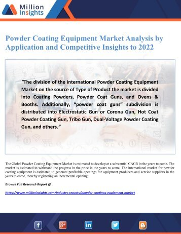 Powder Coating Equipment Market Analysis by Application and Competitive Insights to 2022
