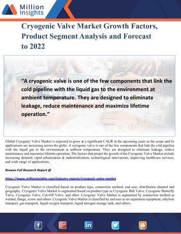 Cryogenic Valve Market Growth Factors, Product Segment Analysis and Forecast to 2022