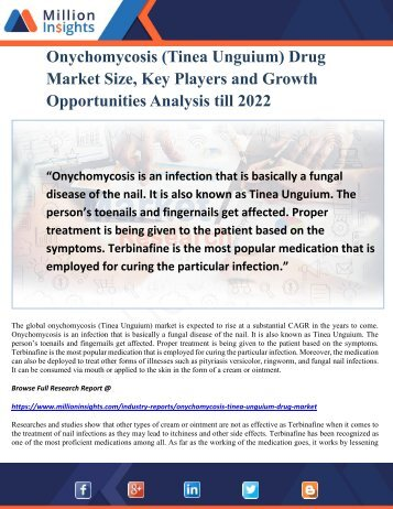 Onychomycosis (Tinea Unguium) Drug Market Size, Key Players and Growth Opportunities Analysis till 2022