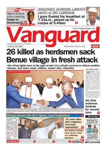 07032018 - 26 killed as herdsmen sack Benue village in fresh attack