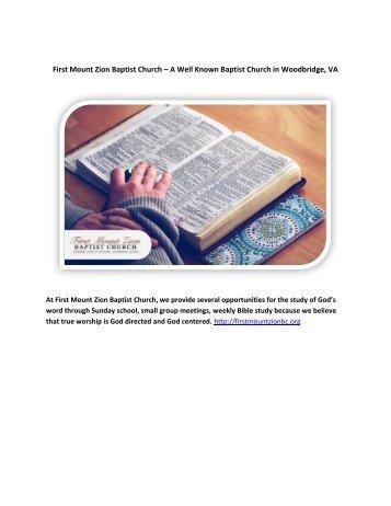 First Mount Zion Baptist Church – A Well Known Baptist Church in Woodbridge, VA