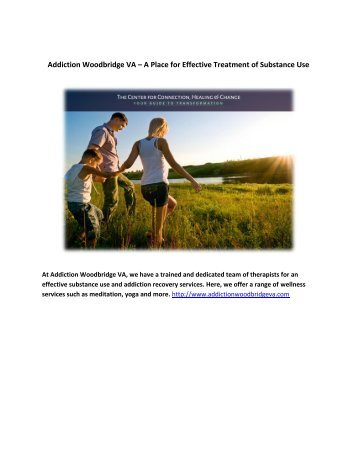 Addiction Woodbridge VA – A Place for Effective Treatment of Substance Use
