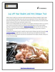 Lay off Your Doubts and hire Udaipur taxi
