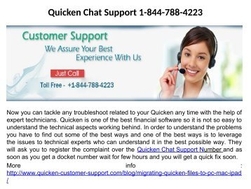 Quicken Chat Support 1-844-788-4223