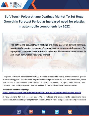 Soft Touch Polyurethane Coatings Market Applications and Driving Factors by 2022