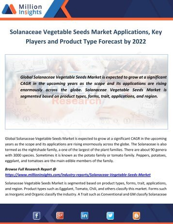 Solanaceae Vegetable Seeds Market Key Players and Type Forecast by 2022