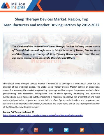 Sleep Therapy Devices Market Top Manufacturers and Growth Factors by 2012-2022