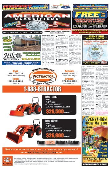 American Classifieds March 8th Edition Bryan/College Station