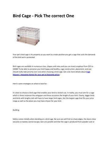 8 Cage Heaven  Heavenly homes for your pet at heavenly prices
