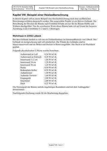 heizlast beispielaufgabe - Heizlastberechnung Beispiel