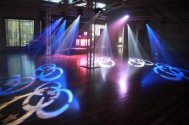 intelligent lights on truss cube